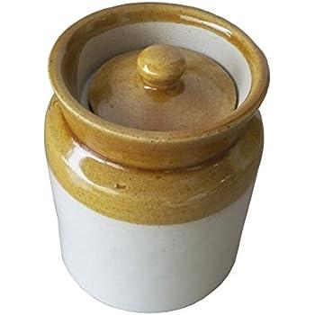 Antique Ceramic Pickle Jar (Traditional), 300 ml, White & Brown