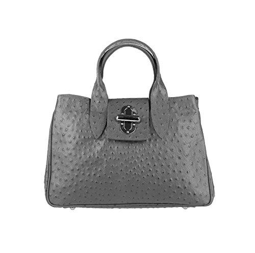Obc Ital Borsa Da Donna In Pelle Shopper Tracolla Borsa Da Spalla Business Buzz Borsa Borsa Tablet / Ipad 10 Pollici (rosso) Grigio Scuro (straus Goffratura)