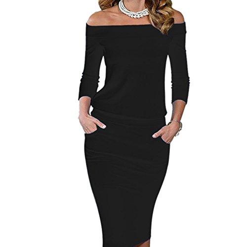 Yilianda vestito donna sottile vestitini eleganti maglioni invernale maniche lunghe fuori spalla abiti da sera cerimonia cocktail bodycon dress nero 2xl