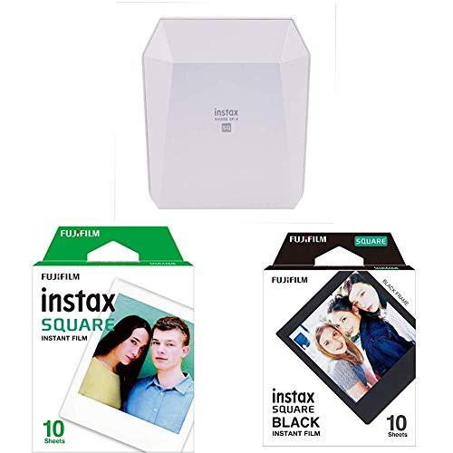 Fuijifilm Instax Share SP-3  Drucker, weiß + Square WW 1 Film + Square Frame WW1 Colorfilm, schwarz (Filmeset)