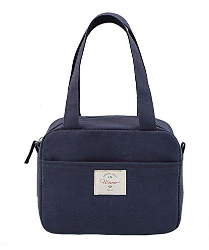iSuperb Kühltasche Isoliert Lunch Taschen Mtagessen Tsche Lunch Bag Cooler Bag Wasserdicht (Dunkelblau)