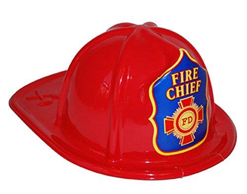 Karnevalsbud - Feuerwehrhelm Fire Chief - Erwachsene Feuerwehr Zubehör Helm, (Fighter Kostüme Halloween Fire)