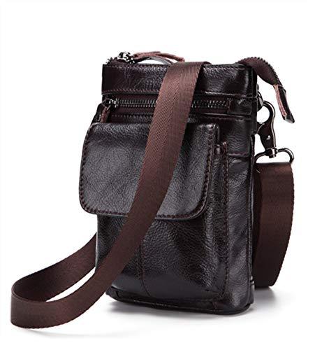 Contyu Tasche für Herren, weiches Leder, kleine Reisetasche mit Karabinerhaken für Herren, Mini-Messenger-iPhone-Tasche, Crossbody-Portemonnaie, Handy, Dunkelbraun -