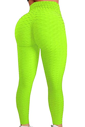Pau1Hami1ton Damen Leggings, Sporthose Fitnesshose Training Laufhose Sport Tights Hohe Taille Yogahose GP-11(Neon Green,L)