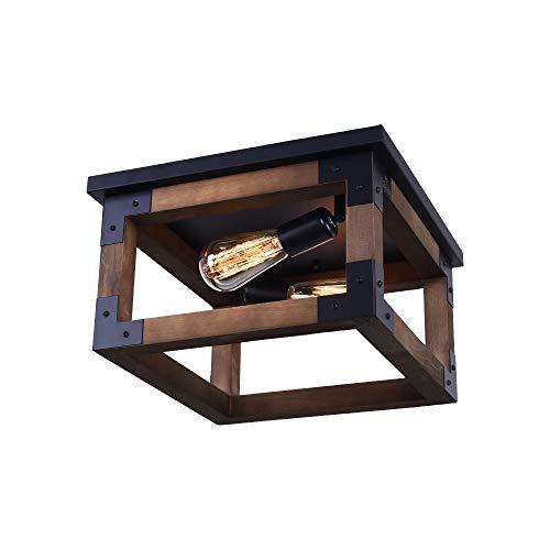 EDISLIVE 2-Licht Deckenleuchte aus Holz Farmhouse Cube Frame Leuchten Decken Lampenschirm