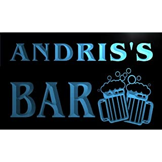 w047487-b ANDRIS Name Home Bar Pub Beer Mugs Cheers Neon Light Sign