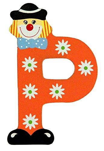 Holzbuchstaben und Zahlen- Clowns - mit Klebepad in zufälliger Farbe - Rimini Baustoffe® - Ideal für Türen und Schränke (Buchstabe P)