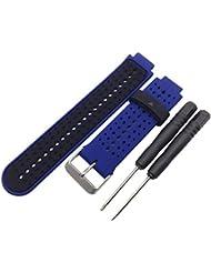 Transer® Smart Reloj Reemplazo Correa de muñeca, suave silicona Watchbands con herramientas para Garmin Forerunner 220230235630620, color Blue + Black
