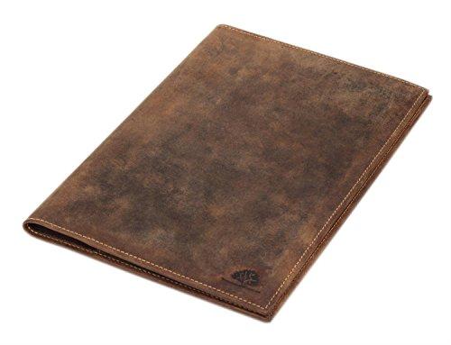 Greenburry Vintage Buchhülle Leder Buchumschlag Lederhülle A5 Ledereinband Notizbuch braun - 24,5x17x1cm
