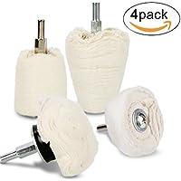 Polierscheibe für bohrmaschine, Aodoor polieraufsatz 4pcs bürsten satz weißer konischer baumwollsamt, geeignet für manifold, aluminium, edelstahl, chrom