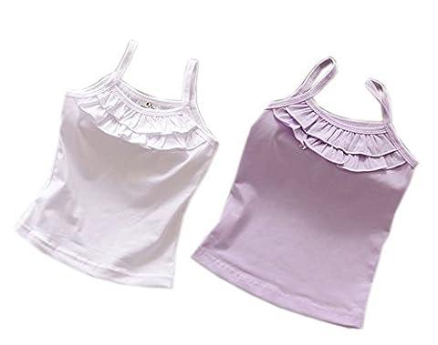 Blanc & Violet Filles Coton avec Volants Cami, 5–6ans