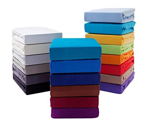 Hometex Premium Textiles Boxspringbett Spannbettlaken Spannbetttuch bis 36 cm Steghöhe | Bettlaken Jersey aus 100% Baumwolle für Wasserbetten | ÖKO-TEX Standard | 180-200x200-220 cm Silber
