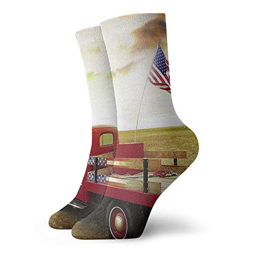 ouyjian America Flag Red Truck Cool Novelty Long Sock Crew Athletic Tube High Stockings Sport