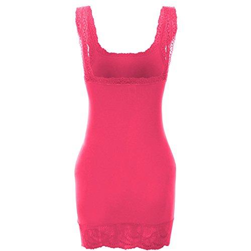 Damen Tanktop Lang Top Long Shirt Spitze Urban Lang Hemd Bandeau Oberteil 20653 Pink