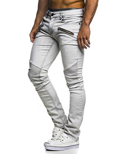 LEIF NELSON Herren Jeans Hose Slim Fit | Denim Blaue graue Lange Jeanshose für Männer | Coole Jungen weiße Stretch Freizeithose Schwarze Cargo Chino Sommer Winter Basic | LN273 Hell Grau W36/L30