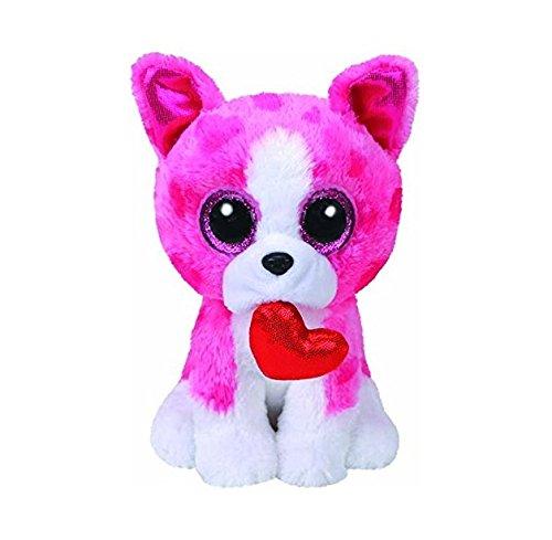 "Beanie Boo Valentine's Dog - Romeo - Pink Heart - 15cm 6"""