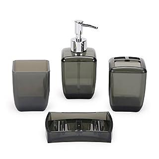Ballad Bad-Accessoires-Set Modernen 4-Teiliges Badezimmer Zubehör Set Seifenspender Zahnputzbecher Seifenschale, Zahnbürsten/Utensilienhalter -Kunststoff (Schwarz)