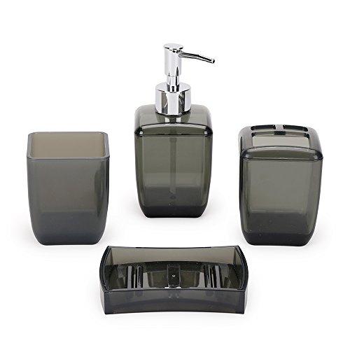 Accesorios de baño Juego de4 Piezas de Accesorios Conjunto de Accesorios de Baño - Porta Cepillos de Dientes, Jabonera, Dispensador de Jabón, Vaso para Enjuague Bucal (Negro)