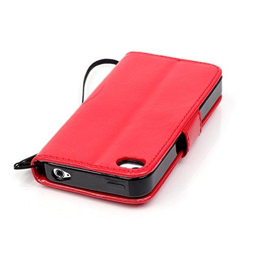 iPhone 4S Custodia, iPhone 4 Custodia, iPhone 4/4S/4G Custodia in Pelle Portafoglio, JAWSEU [Shock-Absorption][Anti Scratch] Lusso 3D Goffratura Fiore Farfalla Wallet Pouch PU Leather Flip Cover Custo Fiore, Rosso