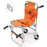 Treppenstuhl YJK-A-5 Notfall 2 Räder Ambulanz Feuerwehrmann Evakuierung Medizinische Transport Stuhl Mit Patienten Restraint Straps, 400 Lbs Kapazität, Orange, 36