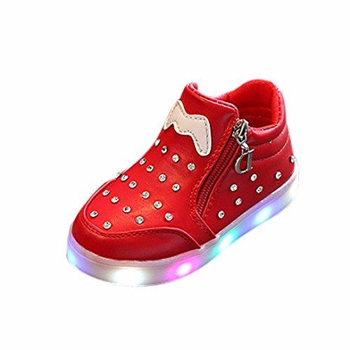 FNKDOR Mädchen Kinder Baby Schuhe LED Licht Leuchten Leuchtende Wanderschuhe Sneaker(Rot,25)