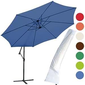 jago parasol d port avec pied et housse de protection 350 cm bleu jardin. Black Bedroom Furniture Sets. Home Design Ideas