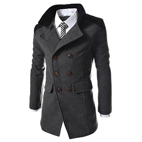 Cappotto uomo inverno, beautytop giubbotto autunno trench giacca manica lunga elegante caldo camicetta invernale parka lungo cappotto giacca outwear cappotti (grigio, m)