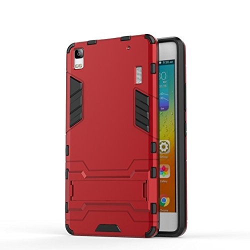 YHUISEN Lenovo A7000 Case, 2 In 1 Iron Armour Tough Style Hybrid Dual Layer Armor Defender PC + TPU Schutzhülle mit Stand Shockproof Case für Lenovo A7000 ( Color : Gray ) Red