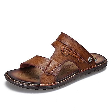 Nueva Moda hombres sandalias de Verano 2017sandalias de cuero genuino Cuero Transpirable sandalias zapatillas Casual hombres ZAPATOS sandalias US10.5 / EU43 / UK9.5 / CN45
