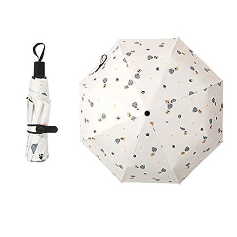 Travel Triple Foldable Umbrella Winddicht Leicht mit Anti-UV / Slip Griff, Katze, Cremig