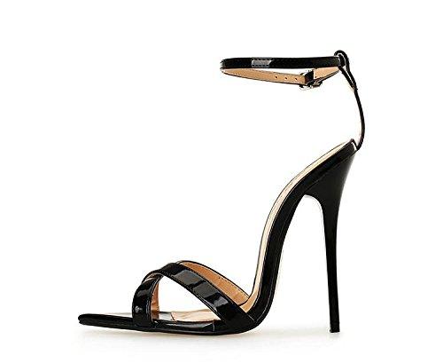 HeiSiMei Sandale der Frauen / Verein / Komfort-Leder / geöffnete spitze Zehe / Hochzeit / Kleid / Partei u. Abend / Büro u. Karriere / Stilett-Ferse / Gehen BLACK-49