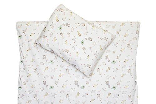 2 Tlg. Babybettwäsche Wendebettwäsche 100% Bio-Baumwolle GOTS Kinderbettwäsche Bettbezug Bettwäsche 100x135cm (Tiere&Sterne)