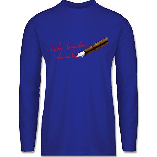 Valentinstag - Ich liebe dich Schriftzug Stift - Longsleeve / langärmeliges T-Shirt für Herren Royalblau