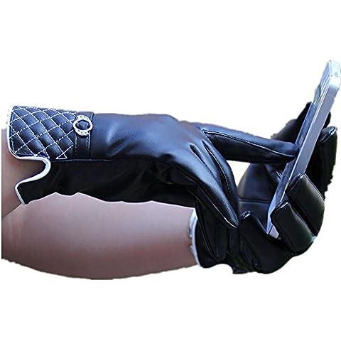 JQAM Donna autunno inverno acqua-lavato PU pelle Business Touchscreen guanti Outdoor in bicicletta più di (Scopo Esterno Raso)