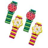 YeahiBaby Holzuhr Kinder Holz Armbanduhr Mitgebsel Kinder Spielzeug Geschenk 4 Stück (Zufällige Muster)