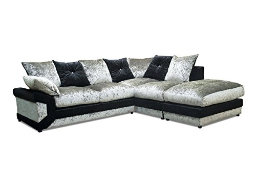 Blink tessuto divano ad angolo destro, nero/argento