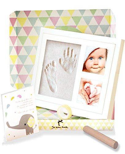 Preisvergleich Produktbild Mit Geschenk-Box - Freundlicher Baby Handabdruck und Fussabdruck - Bilderrahmen - Erinnerungen für die Ewigkeit -Gipsabdruck - Pate Geschenk Geburt Taufe - Handabdrücke - Der kleine Knick