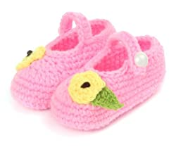 Button Up Baby Pink Crochet Shoes With Leafy Flower