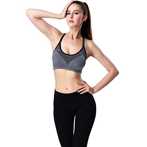 Ouneed® Femmes Sport Bra Gym Courir Yoga Fitness rembourrée Débardeurs stretch Workout Gris