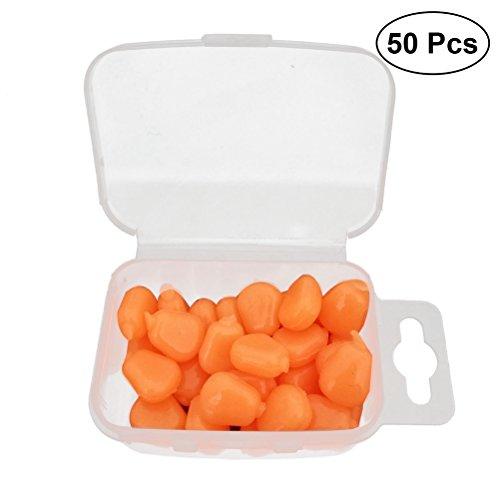 VORCOOL 50 Stück künstliche Angelköder Silikon Angel Mais Köder Fischköder (Orange)