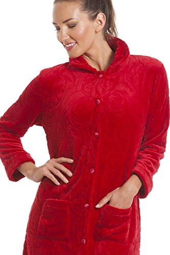 Robe de chambre en polaire - boutons sur le devant - femme - rouge Rouge