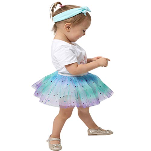 Lenfesh Kleinkind Kind Mädchen Petticoat Rainbow Tutu Rock -