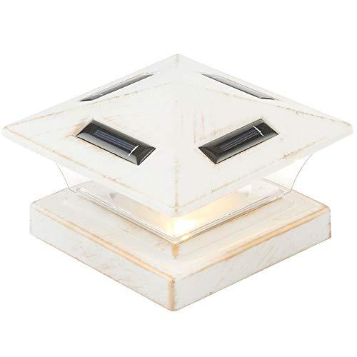 LED Solar Steh Leuchte antik weiß Garten Weg Zaun Pfosten Kappe Sockel Lampe Globo 33038