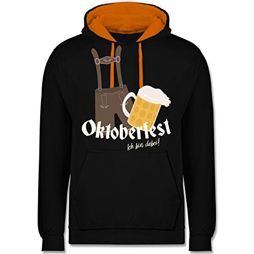 Oktoberfest Herren - Oktoberfest - Ich bin dabei! - Kontrast Hoodie Schwarz/Orange
