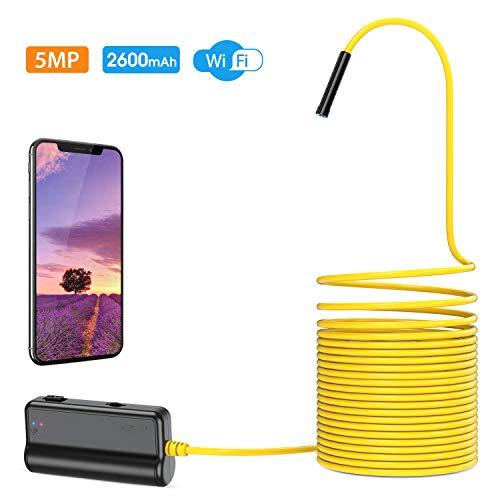 WiFi Endoskop, Endoskopkamera Upgrade 5.0 Megapixel 1944P HD Inspektionskamera mit 2600mAh Akku Halbstarre Schlangenkamera Brennweite 40cm für Android,IOS,iPhone,Smartphone,Tablet-5M