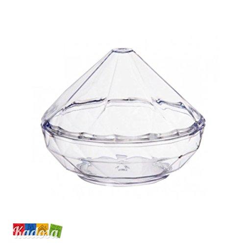 Set 4 pz porta confetti diamante in plexiglass trasparente ideale per matrimonio o anniversario - bomboniera 50 anni nozze d'oro diamond