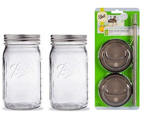 2Ball Glas Mason Trinken Gläser mit 2SIP und Stroh Deckel 32oz Wide Mouth farblos Half Pint Mason Jar