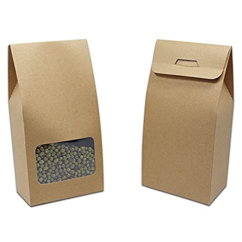 10x21.5+5cm (3.9x8.5+1.9 inch) Pack of 20 Brown Grocery Kraft Paper Package Handle with Window Boxes Lunch Flat Craft Paper Cupcake Favour Candy Seeds Packing Box Chocolate Takeout Picnic Sandwich Storage Packaging Case