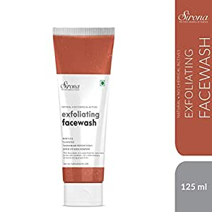 Sirona Natural Exfoliating Face Wash Facial Cleaner With Apricot & Flaxseed Extracts & 5 Magical Herbs To Help Reduce Blemishes, Fight Acne - 125 Ml