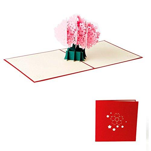ndgefertigt 3D Pop up Cherry Blossom Sakura Grußkarte Geburtstag Frohe Weihnachten Ostern Halloween Geschenk Karte 9,9* 14.9cm (Blossom Halloween)